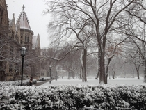 The University of Chicago after a snowfall