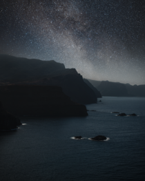 The upper Milky Way rising over the cliff faces of Madeira Portugal