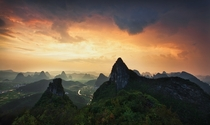 The Valley Of Magic - majestic mountain peaks in Yangshuo Guilin China  photo by Darren J Bennett