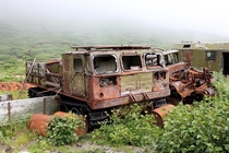 The vehicle in an abandoned military settlement Kurile Islands