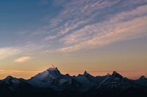 The very first morning light hitting the peak of Weisshorn my favourite mountain in the alps Bonus Matterhorn