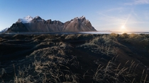 The Vestrahorn Iceland at moonrise Panorama taken  weeks ago