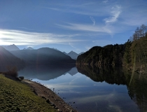 The view across Lake Apsee near Hohenschwangau Bavaria Germany