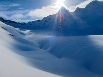 The view before skiing across Icefield Glacier with Beowulf and Grendel Peaks above Snowfall British Columbia    OC