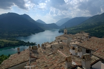 The view from a rooftop overlooking Lake Barrea Italy
