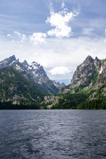The view from Jenny lake at the Grand Tetons WY