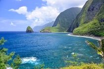 The view from Kalaupapa Molokai Hawaii - a former leper colony at the base of towering sea cliffs