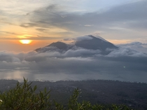 The view from Mount Batur in Bali at Sunrise