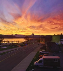 The view from my office in downtown Coeur D Alene Idaho was spectacular last night