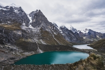 The view from the Mirador de Tres Lagunas on day  of the -Day Cordillera Huayhuash Trek