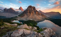 The view from the Niblet Assiniboine Provincial Park BC Canada This place is jaw-dropingly beautiful Sunburst Peak above with Mount Assiniboine to the left Magog Cerulean and Sunburst lakes below No-one here but us and the mosquitoes  writes photographer
