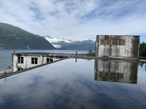 The view from the top of the Buckner building in Whittier Alaska A decommissioned barracks complex for secret submarine base