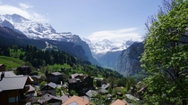 The view from Wengen overlooking the Lauterbrunnen Valley