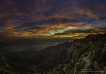 The view of Albuquerque New Mexico at sunset from Sandia Peak