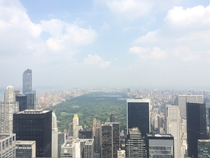 The view of Central Park from the top of  Rock NY