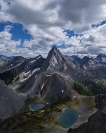 The view of Mount Birdwood from the summit of Mount Smutwood in Kananaskis Alberta