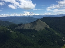 The view of Mt Rainier from the Kelly Butte Lookout near Enumclaw Washington
