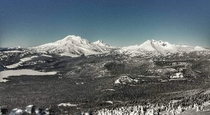 The view of the Three Sisters from Mt Bachelor OR OC