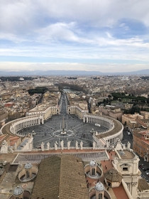 The view on the city of Rome from the top of the dome of the St Peters Basilica