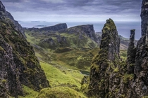 The view to Fingals tomb Leac nan Fionn and Sron Vourlinn and beyond to The Minch Scotland UK By BJE