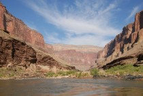 The view while water water rafting in the Grand Canyon