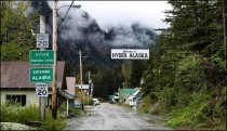 The Village of Hyder Alaska as viewed from the Canadian side