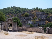 The Village of Kayakoy Turkey in the Taurus Mountains is made up of  completely empty and abandoned buildings
