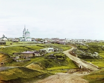 The Village of Kolchedan in Ural Mountains  Early color photograph from Russia created by Sergei Mikhailovich Prokudin-Gorskii as part of his work to document the Russian Empire from  to