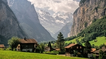 The village of Lauterbrunnen in the Swiss Alps