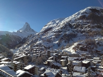 The Village of Zermatt within eye of Matterhorn Switzerland  by Delina Wejdeby