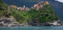 The villages of Cinque Terre built into the cliffs of the Italian coast