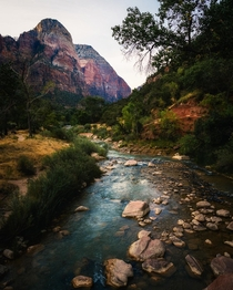 The Virgin River cutting through Zion National Park