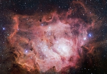 The VLT Survey Telescope at ESOs Paranal Observatory in Chile has captured this richly detailed new image of the Lagoon Nebula