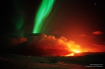 The volcano Hekla erupted at the same time that Auroras were visible overhead The picture was taken in Iceland in