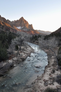 The Watchman and Virgin River on cold and perfectly lonely day Zion NP
