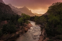 The Watchman in the storm Zion National Park Utah  Photo by Sean Ensch