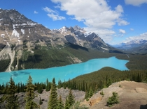 The water is always this blue in Peyto Lake Banff National Park Canada