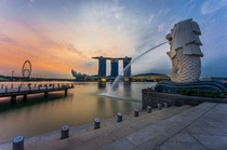 The water-spewing Merlion is the official mascot of Singapore