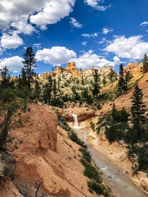 The waterfall on Mossy Cave Trail  Bryce Canyon National Park UT x