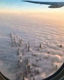 The way these skyscrapers pierce the clouds in Dubai