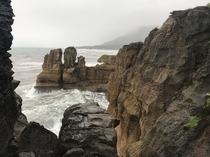 The west coast in New Zealand is very rainy and different from the rest of the country Those cliffs are called Pancake Rocks