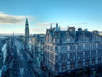 The West End of Edinburgh viewed from a department store toilet cubicle