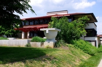 The Westcott House - Frank Lloyd Wright design in Springfield Ohio  -Prairie Style  Built for Burton J Westcott the main house is connected to stables then garages by an extensive pergola and is the only FLW designed Prairie Style home in Ohio
