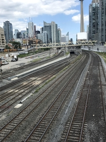 The Westside entrance to Torontos Union Station for all commuter and intercity train traffic Same thing on the Eastside Now there is a plan to cover the railway lands with a park which would be an amazing turnaround from the industrial mess it once was Fr