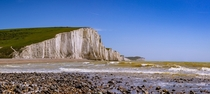 The white chalk cliffs that make up the southern shore of Great Britain Seven Sisters UK