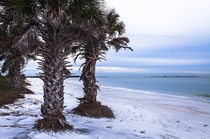 The white sand of North beach at Fort Desoto State Park Florida