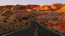 The windy Mouses Tank road located in the Valley of Fire Nevada  photo by Claus Cheng