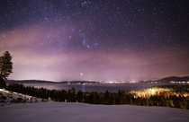 The winter night sky over Lake Tahoe last night featuring Orion and the Winter Triangle