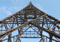 The wooden lattice structure of the Gliwice Radio Tower the Silesian Eiffel Tower in Poland Built in  and standing at m it is the tallest wooden transmission tower in the world