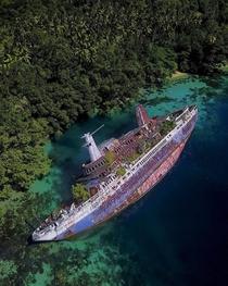 The World Discoverer - a cruise ship dedicated to explore polar regions Abandoned in  on Solomon Islands after hitting a reef